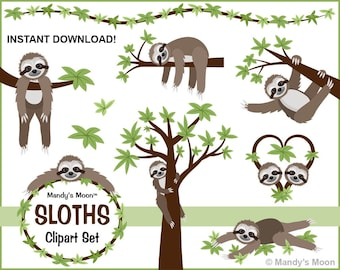 Sloths Clipart Set - Personal and Nonprofit Use - Instant Download