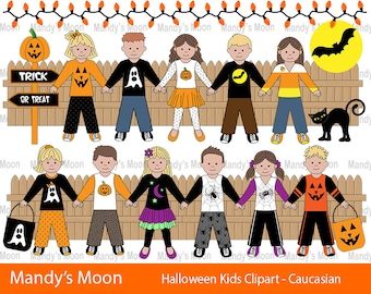 Halloween Kids Clipart Set, Caucasian Kids - Personal and Nonprofit Use - Instant Download