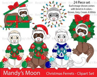 Christmas Ferrets 24 Piece Clipart Set - Personal and Nonprofit Use - Instant Download