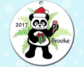 Santa Panda Christmas Ornament - Personalized