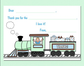 Train Fill in the Blank Thank You Notes (Pack of 10) - Boy