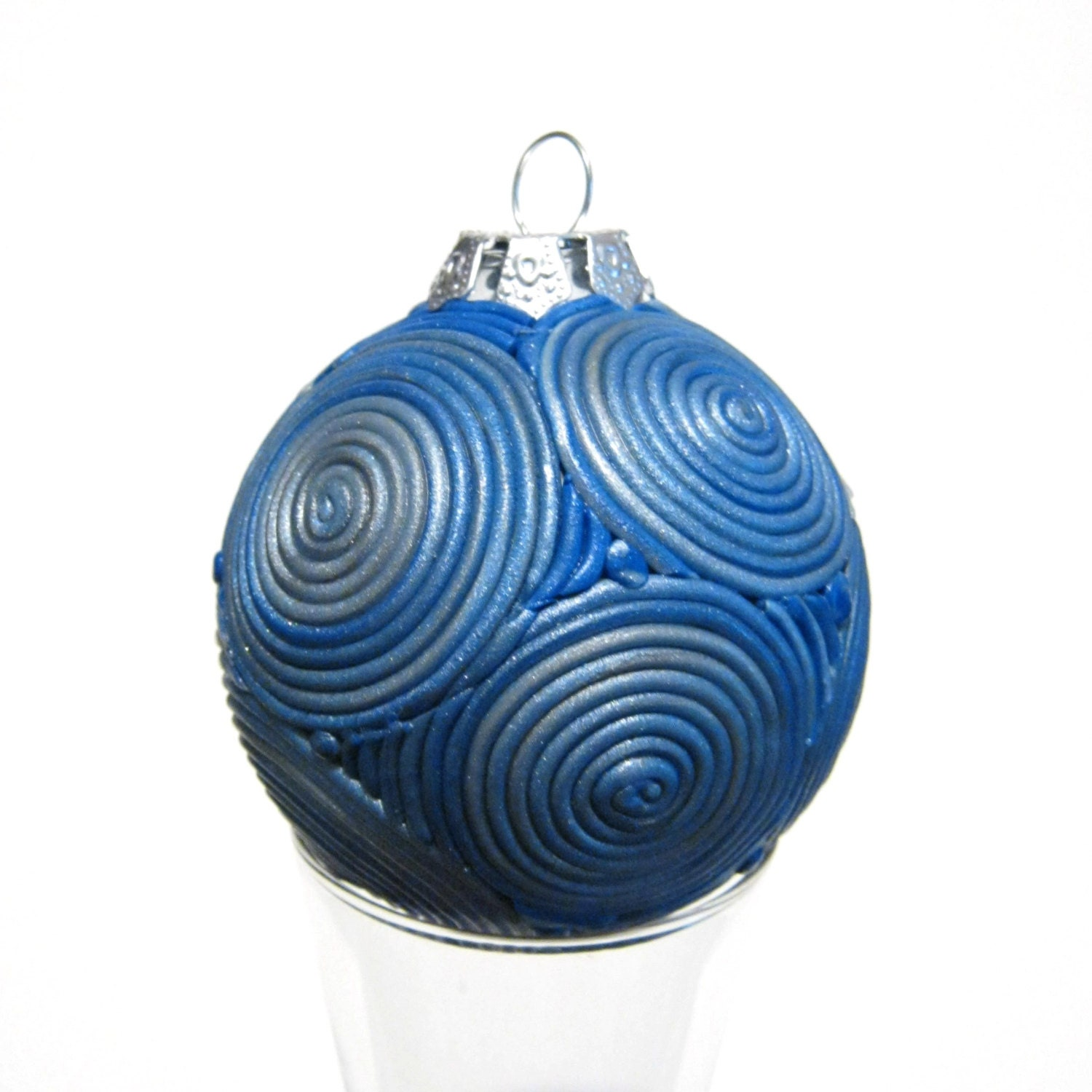 Blue Christmas Ball Ornaments Uk: Blue Pearl Filigree Ball Ornament Polymer Clay Ombre