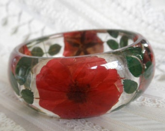 Red Roses, Rose Leaves Pressed Flower 8 Inch Resin Bangle-Unique, One of A Kind-June's Birth Flower-Symbolizes True Love-Nature's Art