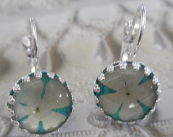 Snowball Bush Blossoms Atop Caribbean Ocean Blue Green Under Glass-Crown Leverback Pressed Flower Earrings-Symbolizes Thoughts of Heaven