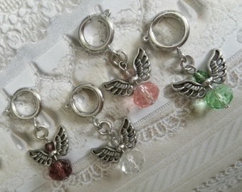 3D bracelet charm Silver Angel charm charm on lobster clasp clip on charm Fast Shipping from USA CS434 purse charm zipper pull