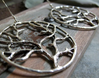 In the Woods - Hoop Earrings, Large, Antique Silver, Tree Branches, Vintage