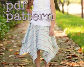 PDF Be There or Be Square Handkerchief Skirt Pattern for Babies, Toddlers, Girls - Sizes 6-9m, 12-18m, 2t, 3t, 4t, 5t, 6, 7, 8, 10 & 12