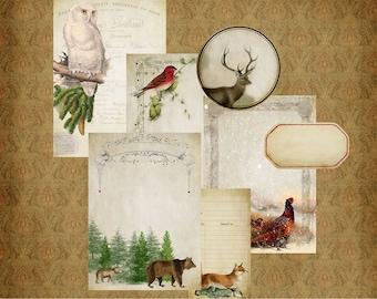 Vintage Winter Journal Kit druckbare digitale Download