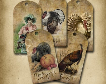 Vintage Turkey Tags Thanksgiving Printable Instant Download