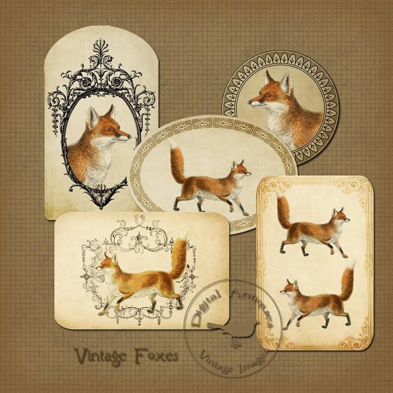 Vintage Fox Tags Printable Tags Instant Digital Download