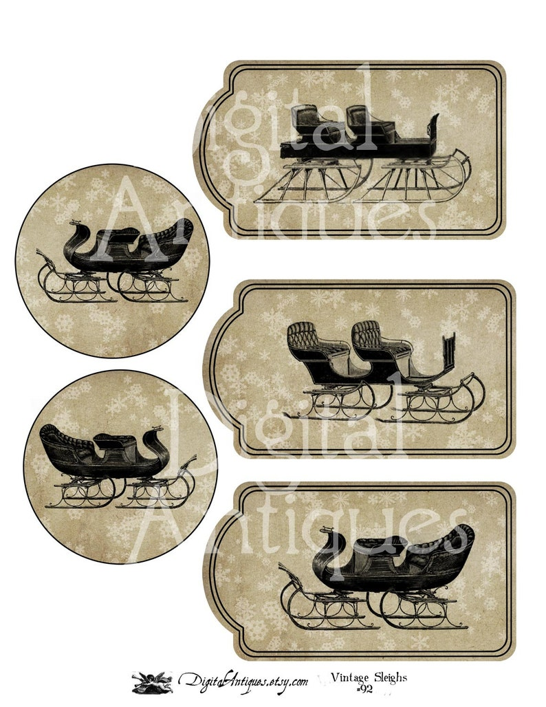 Antique Sleigh Snowflake Winter Tags  Digital Download