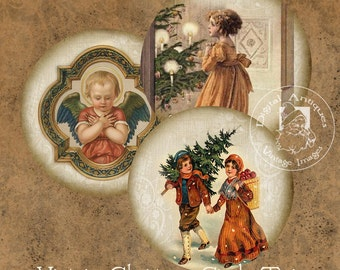 Round Vintage Christmas Tags Instant Digital Download