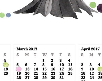 TOP CALENDAR 2017 - Love Birds and Tree of Life - wall art calendar gift, print poster for New Year Gift
