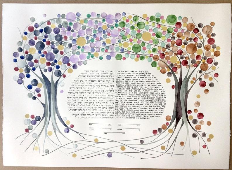 Custom artwork commission KETUBAH  FOUR SEASONS Watercolor image 0