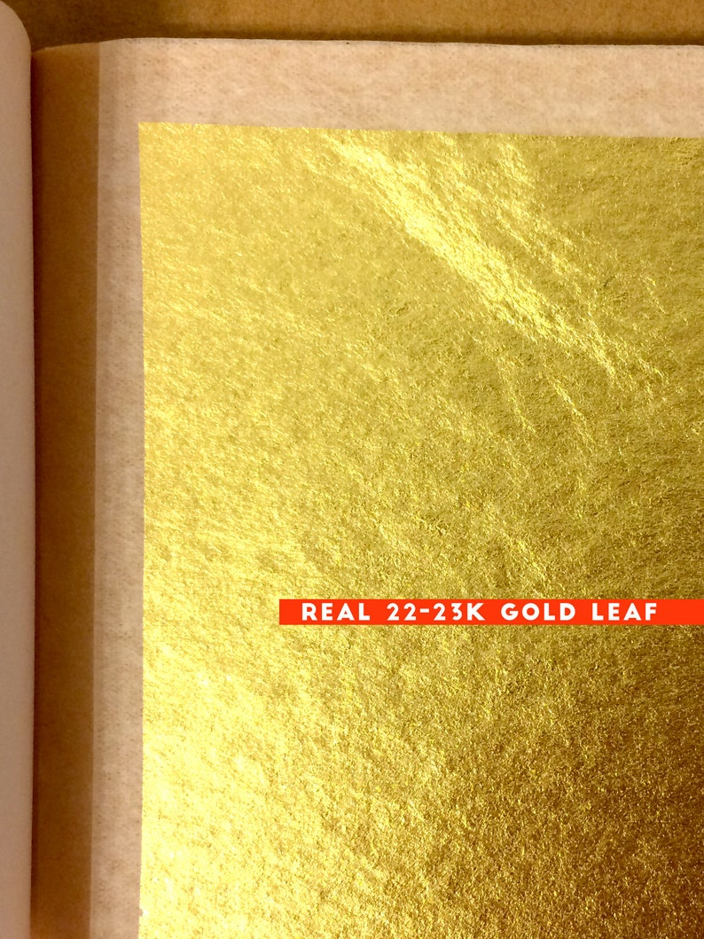 REAL GOLD LEAF accents for Ketubah Blessings Guestbooks and image 0