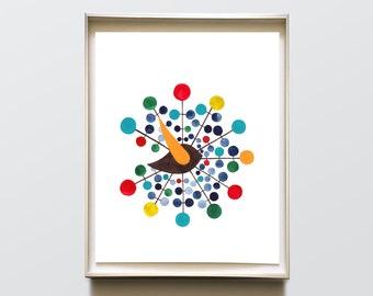 Mid century modern Wall art <> Gentry Ball Clock Bird, Spot painting