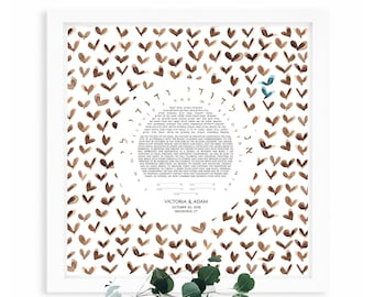 Jewish Community Ketubah > custom watercolor print > Happy Butterflies ketubah design
