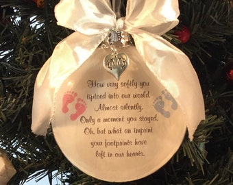 Twin Miscarriage, How Very Softly You Tiptoed Into Our Life, Memorial, Baby Loss, Christmas Ornament