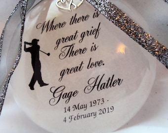 Father Memorial Ornament, Where There Is Great Loss, There Is Great Love, Loss of Parent Christmas Ornament