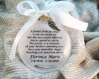 In Memory A Feather From A Guardian Angel Ornament Feather from an Angel Personalized, for Mother, Father, Loved One, Free charm