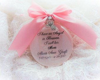 Mother Memorial Ornament, I Have an Angel in Heaven, with Angel Charm