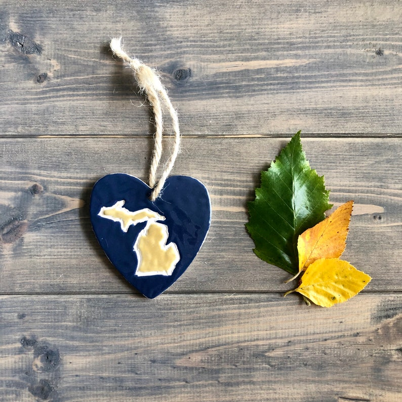 Michigan Heart Ornament Maize and Blue