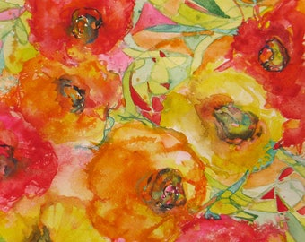 original abstract Poppy watercolor painting, home decor, poppy art, flower art, wall decor, abstract floral art, flower garden watercolor