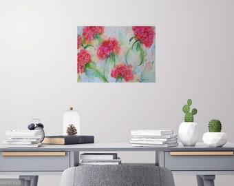 original geranium watercolor painting, wall decor, abstract pink flowers, garden painting, large contemporary art, flower watercolor,11 x 15
