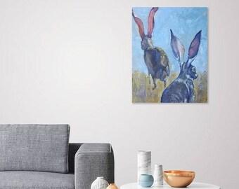 Original southwest rabbit  oil painting, desert  landscape art,wall decor,home decor, antelope hare art, impasto rabbit art, 16 x 20 art