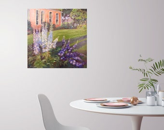 Large original delphinium oil painting, impressionism art, flower landscape oil painting, Janice Trane Jones, wall decor, home decor