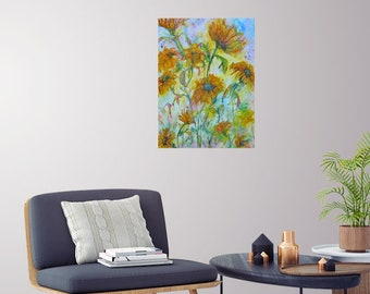 large original sunflower watercolor painting,flower art,floral art, abstract flower painting, 16 x 20 painting,home decor, wall decor art