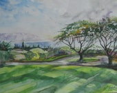 Ocean View Original Watercolor Painting seascape landscape impressionism island fine art 16 x 20 frame ready