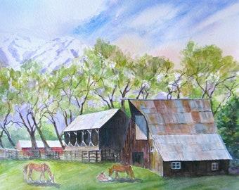 large original painting, watercolor landscape art, farm barn horses art, rocky mountain painting, wall decor, original watercolor, 16 x 20