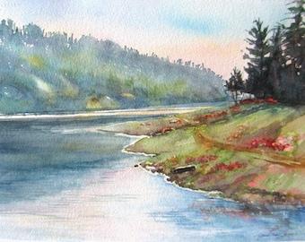 lake landscape print, watercolor painting giclee, western print, mountain print, impressionism art, Janice Trane Jones, wall decor 11 x 15