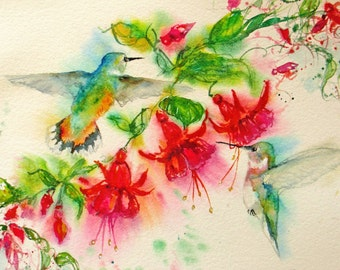 hummingbird art print, abstract watercolor painting, fuschia painting, flower print, wall decor, impressionism, Janice Trane Jones