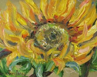 original sunflower oil painting, sunflower impasto art,  flower garden autumn art, wall decor, 5 x 7 canvas art,  Janice Trane Jones