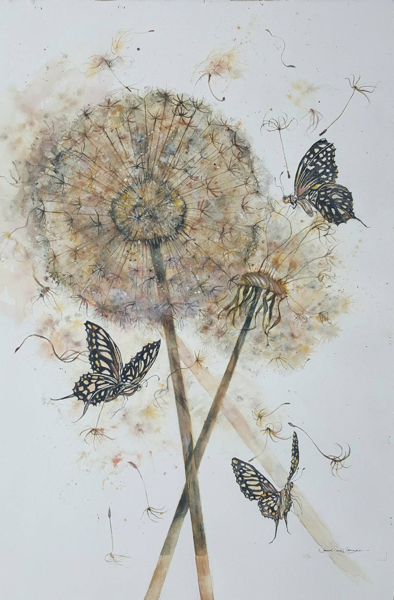 4f13b40002e Large butterflies dandilion art print butterfly art abstract