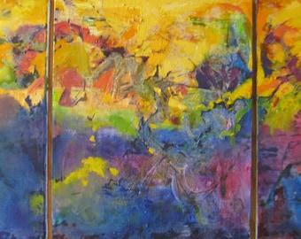 Large abstract canvas art, large contemporary Original Oil paintings, impasto modern art, 3- 16 x 20 panels, Janice Trane Jones, wall decor