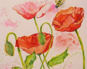 abstract pink red poppy art, original watercolor painting, abstract flower art, wall decor, home decor, flower painting, 9 x 9  art,