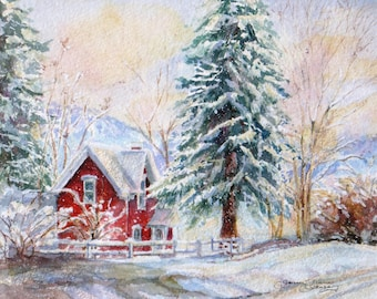 winter snow signed giclee print,  watercolor snow painting, red cottage winter landscape print, wall decor, janice trane jones, wall decor