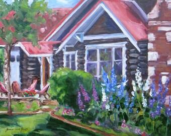 original landscape oil painting,mountain cabin,delphiniums flower painting,western Jackson Hole art,wall decor,Janice Trane Jones,home decor