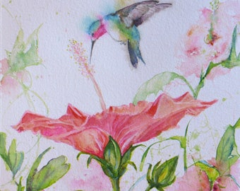 original hummingbird hibiscus watercolor painting, wall decor, flower art, flower garden painting,home decor, hummingbird in flight art