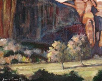 original western landscape oil painting, Zion National Park, impressionism art, desert art, wall decor, home decor, janice trane jones