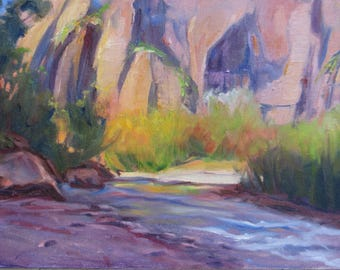 Original Zion National Park oil painting, Southwest landscape art, , wall decor, home decor, Zion in fall painting, Janice Trane Jones