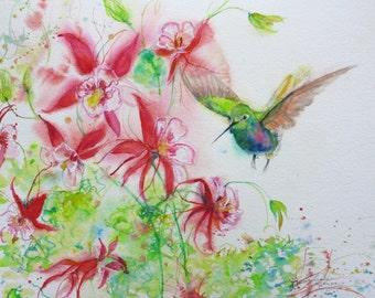 Hummingbird watercolor art print, hummingbird painting, original abstract watercolor, Columbine painting,wall decor, bird painting