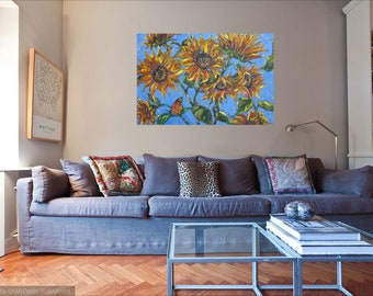 Large Butterfly Daisy abstract original oil painting, wall decor, home decor, monarch butterfly art, flower canvas painting, garden art