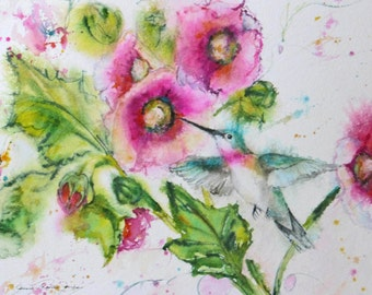 hummingbird watercolor signed giclee print, bird painting,hollyhock giclee, flower garden home decor, wall decor, Janice Trane Jones