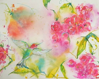 original hummingbird painting, hummingbird art, bird watercolor, large hummingbird fuschia painting, 11 x 15 art, abstract bird watercolor,