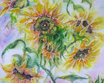 Original Abstract Sunflower watercolor painting, flower art, garden sunflower art by janice trane jones, large abstract flower art, floral