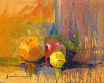 abstract still life oil painting print, fruit giclee print, melting orange apple lemon still life art, wall decor, Janice Trane Jones